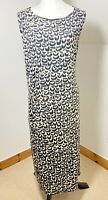 ROMAN ORIGINALS Size 20 UK Black Leopard Print Ruched Stretchy Midi Casual Dress