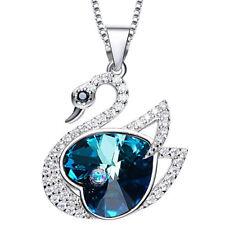 Schwan Halskette Herz Anhänger Silber mit SWAROVSKI Kristallen 18K Weißgold pl