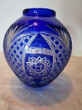 """Vintage Bohemian cobalt blue Vase Bowl cut to clear Stars Fans  Buttons 7.75"""" H."""