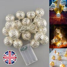 UK vendita 20x BATTERIA Marocchina in Metallo Palla LED FAIRY stringa luci Lampada Warm White