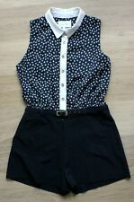 River Island Playsuit Size 12 Lip Print Floral Patterned Summer Collar