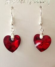 Crystal Heart Earrings - Red Glass Beads - Wedding Bridesmaids Jewellery