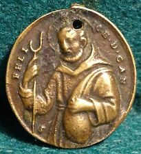ST. FELIX OF CANTALICE / ST FRANCIS OF ASSISI Antiq 18th 21x23mm BRASS MEDAL