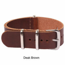 Mens Genuine Leather Army Military Wrist Watch Bands Strap 18mm/20mm/22mm/24mm