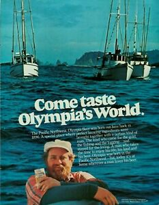 1978 Olympia Beer Pacific Northwest Ships Vintage Color Photo Print Ad