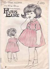 Patron Ancien Paris Luxe Enfant n°100 - Robe manche courte Taille 2 ans