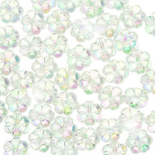 Acrylic Flower Pony Beads 10mm Trans. (Clear AB) PK50 (F107/2)