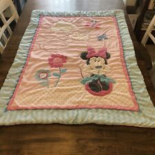 New listing Vintage Disney Minnie Mouse Crib Toddler Baby Blanket Bedding Butterflies Flower