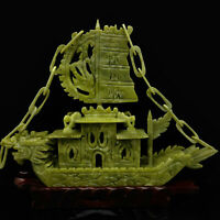 100% Natural Jade Sculpture Carved Boat Shape Statue