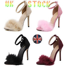 UK Womens Fluffy Fur Sandals Stiletto High Heels Ankle Strap Shoes Cocktai Party