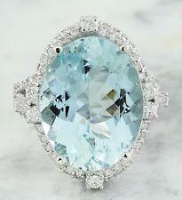 11.45 Carat Natural Aquamarine 14K White Gold Diamond Ring