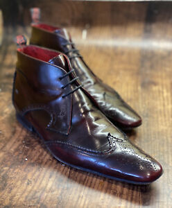 ~Jeffery West~'Muse' Leather Wingtip Chuckle Boots Uk9 Oxblood Burgundy