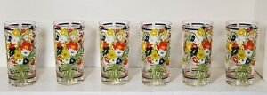Vtg Mid Century Georges Briard Blue Red Yellow Flowers Drinking Glasses Set of 6