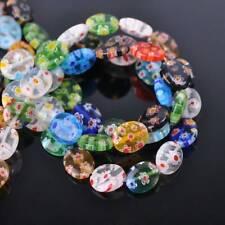 10x8mm 12x10mm Flat Oval Mixed Millefiori Glass Loose Beads Wholesale lot