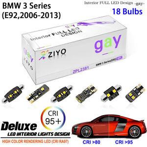 18 Bulbs LED Interior Light Kit Xenon White For E92 2005-2013 BMW 3 Series Coupe