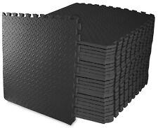 Exercise Floor Mat Puzzle Interlocking Foam Gym Fitness Black 96 Sq Ft 24 Piece
