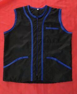 Professional Barber Vest Jacket Black With Blue Strip Color,Ultra Lightweight