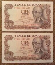 2 X Spain Banknotes. 100 Pesetas. Unc. Consecutive Serials. 1970. Spanish.