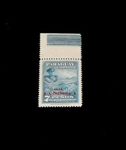 """PARAGUAY #404, 1944, OVERPRINT SINGLE, LOWERED """"S"""" IN CENTIMOS MH, NICE! LQQK!"""