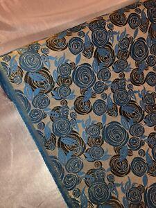 "1 mtr turquoise metallic rose print brocade fabric..45"" wide (114cm)dress,bridal"