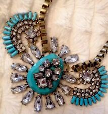 Blue Gem Bronze Statement Necklace•Party gift Wedding PRESENT BIRTHDAY EVENING