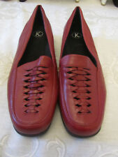 "K Clarks Low 1"" Heel Red Leather Square Toe Shoes in Size 7 E wide - used once"