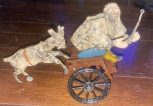 1900's GERMANY WIND-UP TOY MAN IN CART PUSHED BY GOAT - GUNTHERMANN  / LEHMANN
