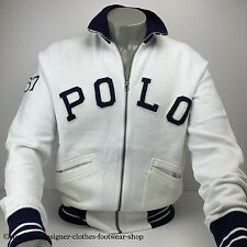 RALPH LAUREN POLO FLEECE TRACK JACKET ZIP UP WHITE JUMPER SIZE LARGE RRP £170