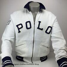 RALPH LAUREN POLO Fleece Track Jacket Con Cerniera Bianco Maglione Taglia Large RRP £ 170