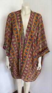 Supre Multi-Coloured Long Sleeve Coverall Kimono Tribal Print Blouse One Size