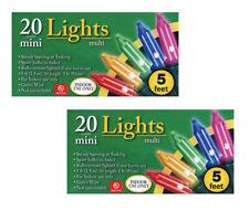 SET OF 2~Holiday 5 ft Christmas Mini Christmas Lights 20 Lights Green Wire MULTI