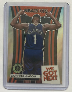 2019-20 NBA HOOPS PREMIUM STOCK ZION WILLIAMSON WE GOT NEXT SILVER PRIZM RC SP
