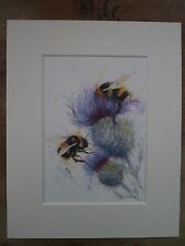 """Watercolour 2 Bees on thistles,  print of original painting, in 10"""" x 8"""" Mount"""