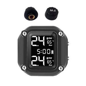 TPMS Motorcycle Tire Pressure Monitor Alarm System Wireless Sensors Waterproof