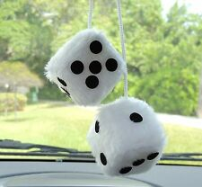 New Quality Pair Hanging Fuzzy Dice in White/Black dots SZ 2-1/8 Rearview mirror