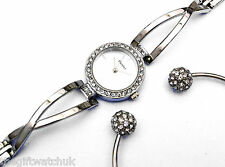 Henley Ladies Silver Tone Crystal Watch with Crystal Ball Bangle Boxed Gift Set