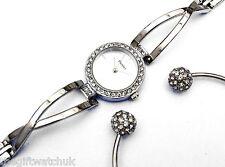 Señoras reloj de cristal de tono plateado Henley con bola de cristal Brazalete en Caja Conjunto de Regalo