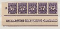 Germany 1922 2m Munich Dark Violet Inscription Margin Strip of 5 MNH X9693