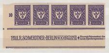 Germany 1922 2m Munich Dark Violet Inscription Margin Strip of 5 MNH X9693