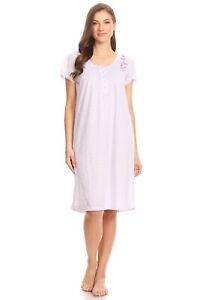00107 Women Nightgown Sleepwear Pajamas Short Sleeve Sleep Dress Nightshirt