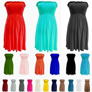 Womens Ladies Strapless Sheering Boob Tube Gather Bandeau Tops Summer Mini Dress