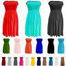 Womens Ladies Strapless Sheering Boob Tube Gather Bandeau Tops Summer Mini Dress