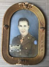 ANTIQUE CONVEX GLASS WOOD PICTURE PHOTO ART FRAME U.S.A. ARMY SOLDIER WAR MAN