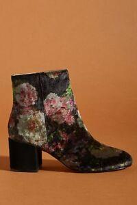 NIB Anthropologie Printed Velvet Ankle Boots sz 8.5