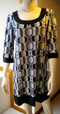 Tiana B. Black/White Petite Geo 3/4 Slve A-line Poly Blend K-Length Dress.  PM