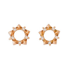 PETITE 9K ROSE GOLD NATURAL DIAMOND STUD EARRINGS. ALLURING STAR SHAPE STUDS.