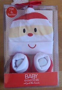 Baby Essentials Christmas Santa Claus Hat + Booties Set 0-6 Months Unisex