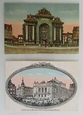 2 x LILLE Frankreich Carte Postale ~1910 Bourse, Theater, Porte de Paris, color