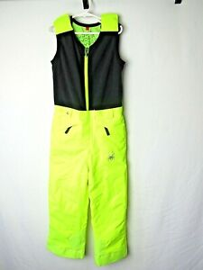 Spyder SMALL TO TALL Insulated Ski Bibs Suit Snow Neon Yellow Size 6 Boys Girls