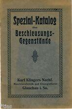 Fa. Karl Klinger Glauchau catalogue beschleusungs objets 1925 écluses bancs